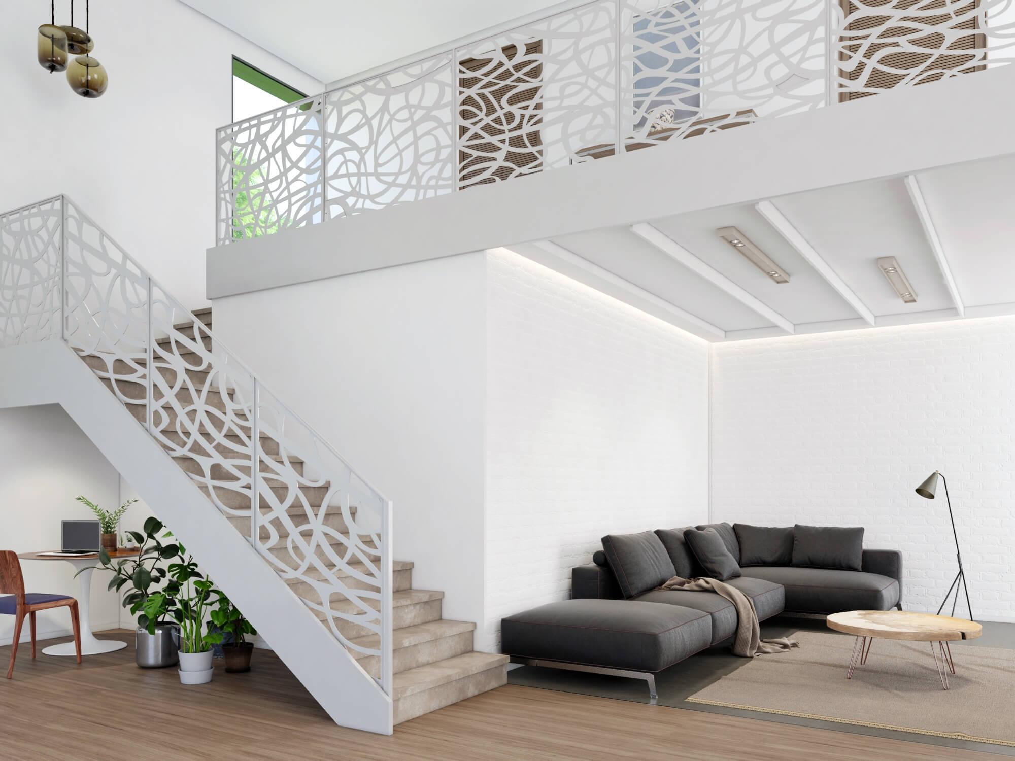 image d'architecture 3D d'un grand espace à vivre tons blancs