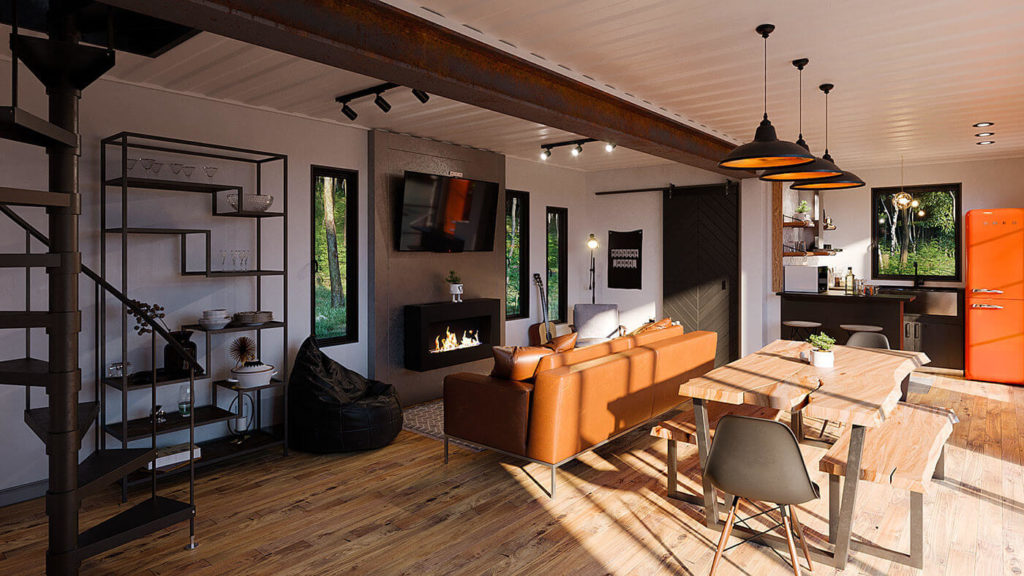 perspective d'architecture - maison contenaire