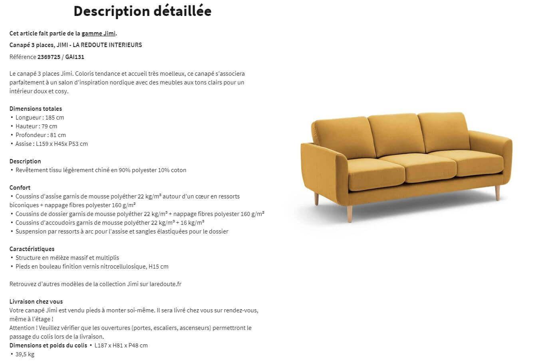 fiche descriptive complète d'un canapé - modèle pour configurateur 3D