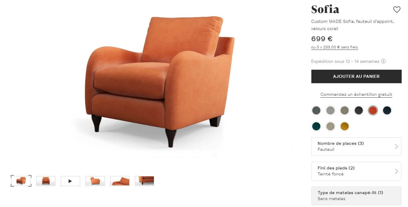 le modèle pour configurateur 3D permet de personnaliser son meuble
