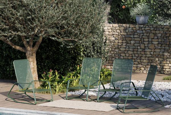 visuel 3D en image de synthèse d'un extérieur mettant en scène du mobilier de jardin