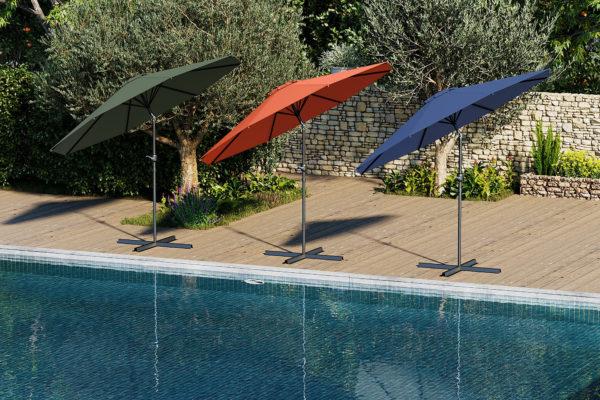 visuels 3D de parasols colorés