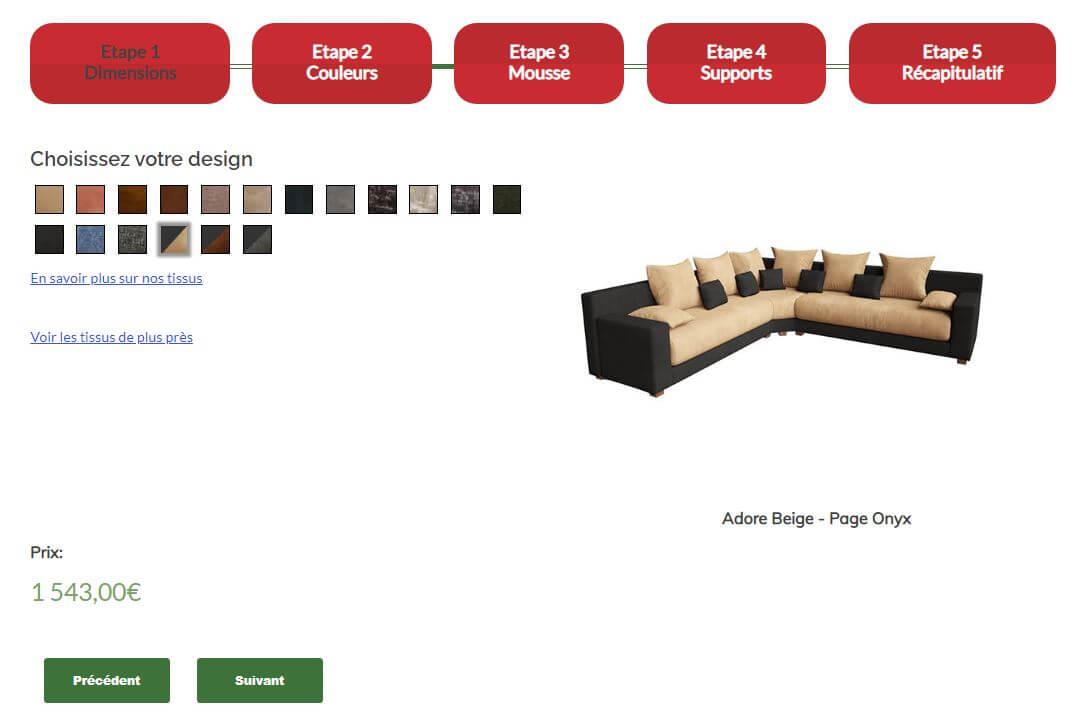 capture d'écran d'un configurateur réalisé avec des image 3D