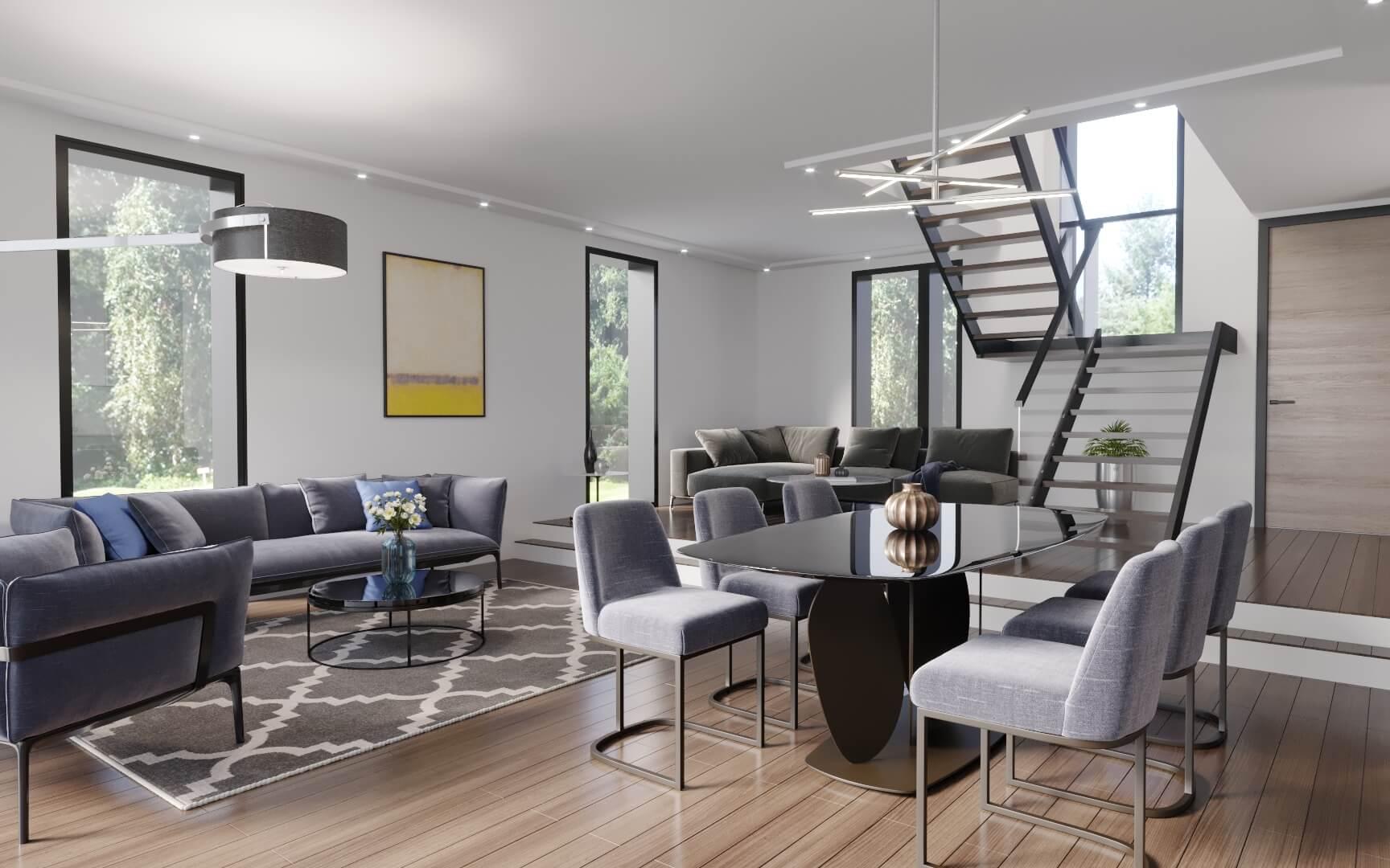 vue 3D d'un salon - perspective d'architecture 3D