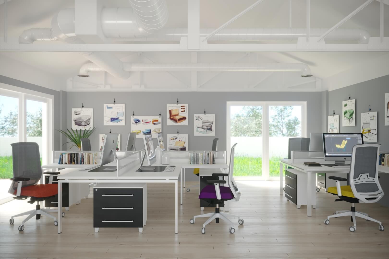 crise du secteur bureautique - covid et immobilier - rendu 3D de mobilier de bureau