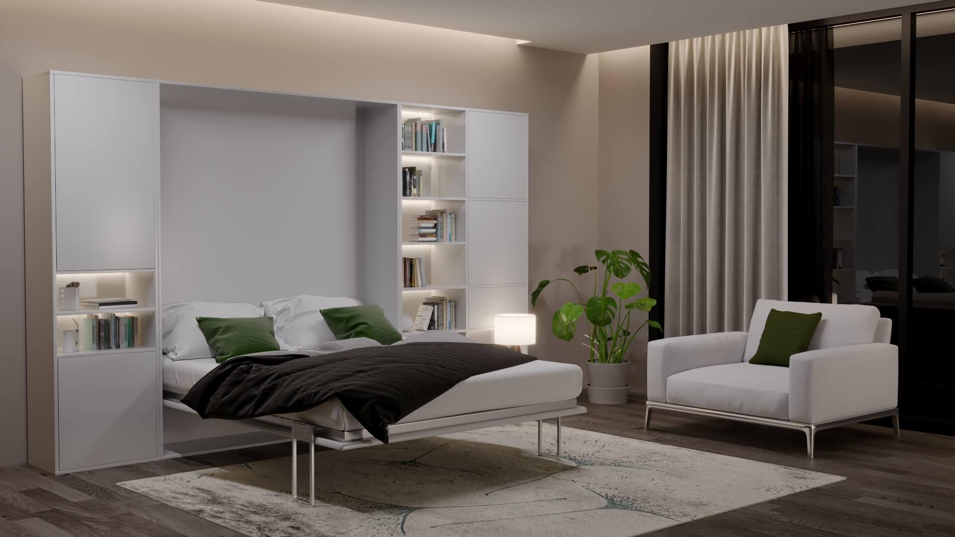 image 3D de nuit d'un salon avec lit escamotable