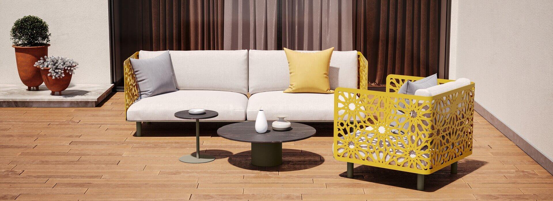 image 3D d'un mobilier modélisé en extérieur