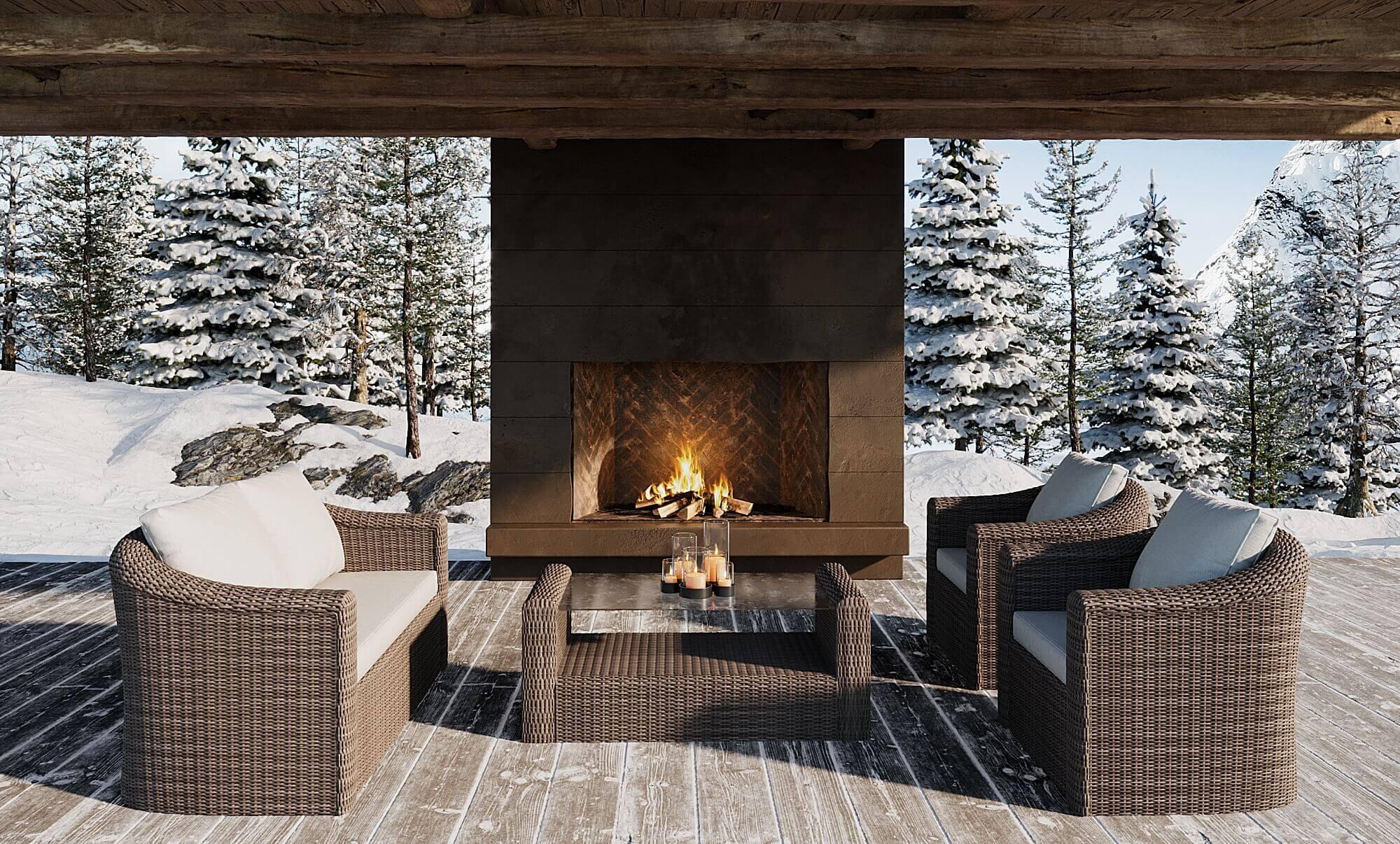 image 3D d'un mobilier extérieur inséré dans une ambiance d'hiver