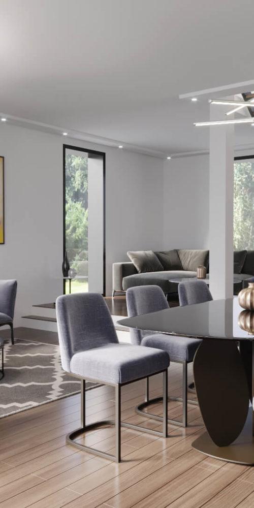 image 3D d'un salon avec divers mobilier et une architecture design
