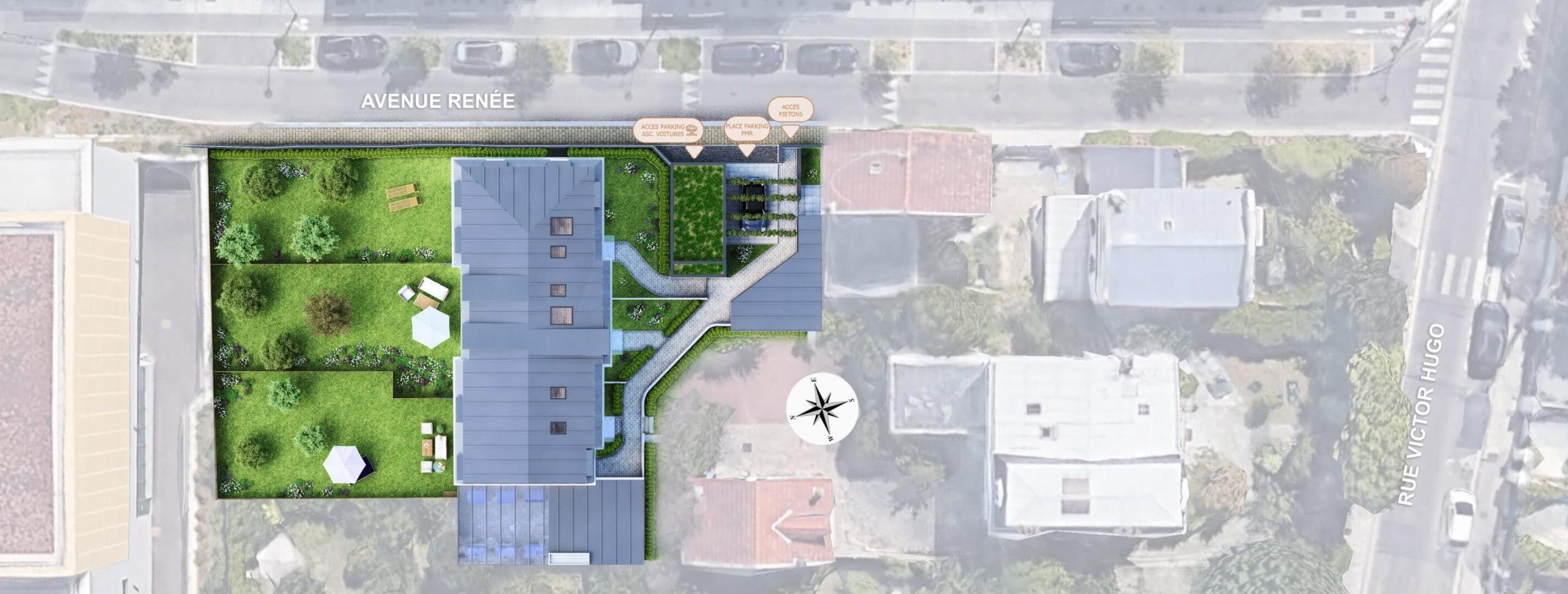 plan de masse réalisé en 3D et intégré dans une image google - plan 3d pour l'immobilier